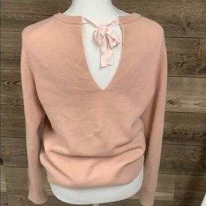 THEORY SALOMINA CASHMERE SWEATER BOW TIE PINK M
